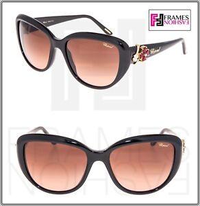2d954bea977e CHOPARD Cat Eye Shiny Black Pink Crystal Flower SCH147S Gradient ...