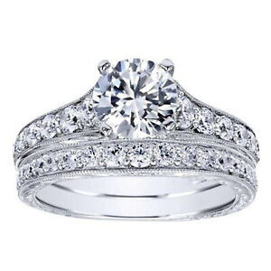 2.00 Ct Round Moissanite Band Set 14K Solid White Gold Anniversary Ring Size 8 9