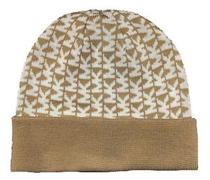 eb1897cc5 Details about NWT MICHAEL KORS WOMEN'S CUFFED BEANIE HAT CAMEL/CREAM OS  537172C MSRP $42.00