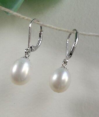 18KGP 925 silver genuine drop shape 8-9mm freshwater pearl earings White