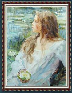 Hand-painted-Oil-painting-art-Original-Impressionism-girl-on-Canvas-24-034-x36-034