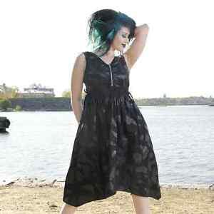 Details zu Vixxsin FLY AWAY DRESS Ladies Black Goth Emp Punk Cheap Sale Bargain