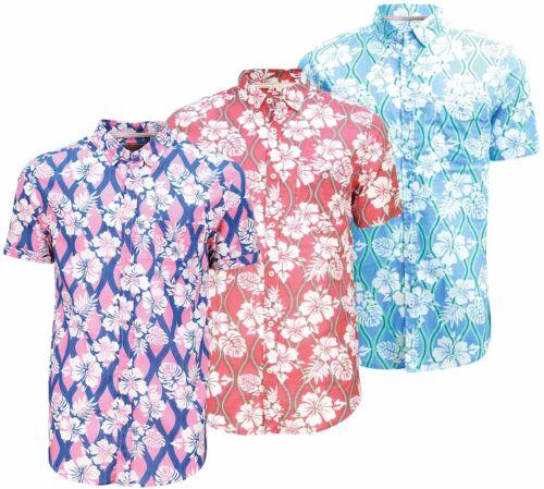 Da Uomo Stampa Hawaiana Maniche Corte Camicia Casual floreale puro cotone