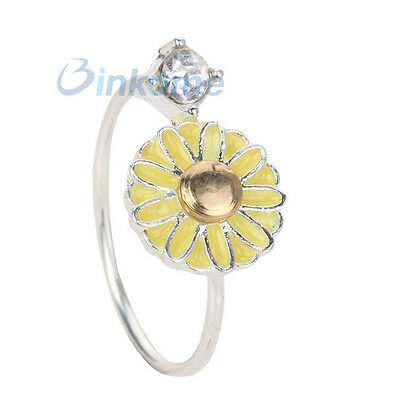 Open Adjustable Flower Ring crystal bud Silver Plated party wedding Jewelry
