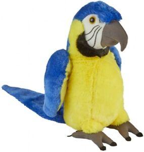RAVENSDEN SOFT TOY STANDING BLUE & GOLD MACAW PARROT 30CM - FR005MB YELLOW BIRD