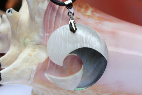 P063 Muschel Perlmutt Perle Schmuck Anhänger Collier mit Schnur Halskette Kette