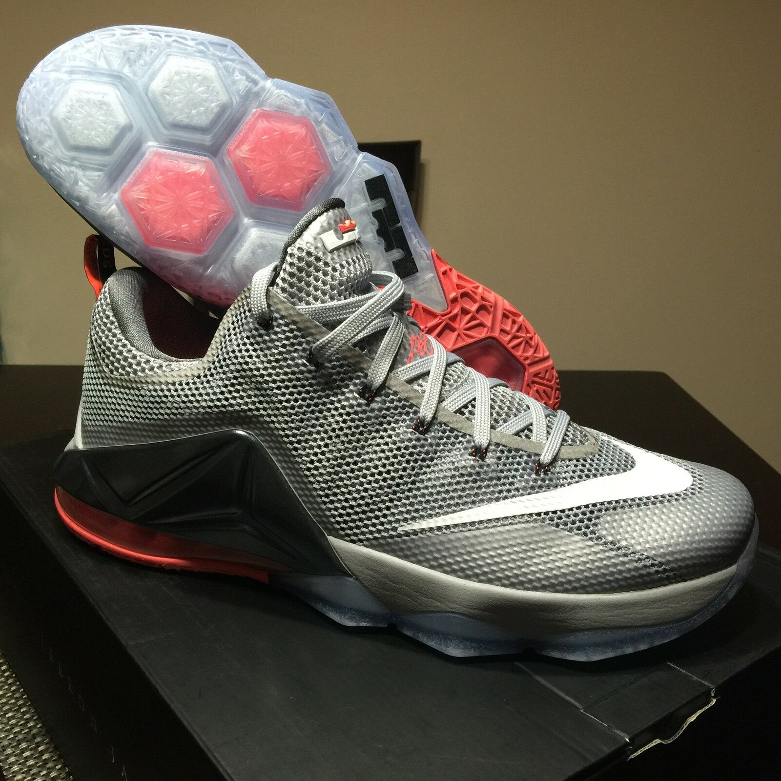 Nike air lebron xii 13 - 8 elite silver chrome rosa palmer rosso 12 11 10 tappo