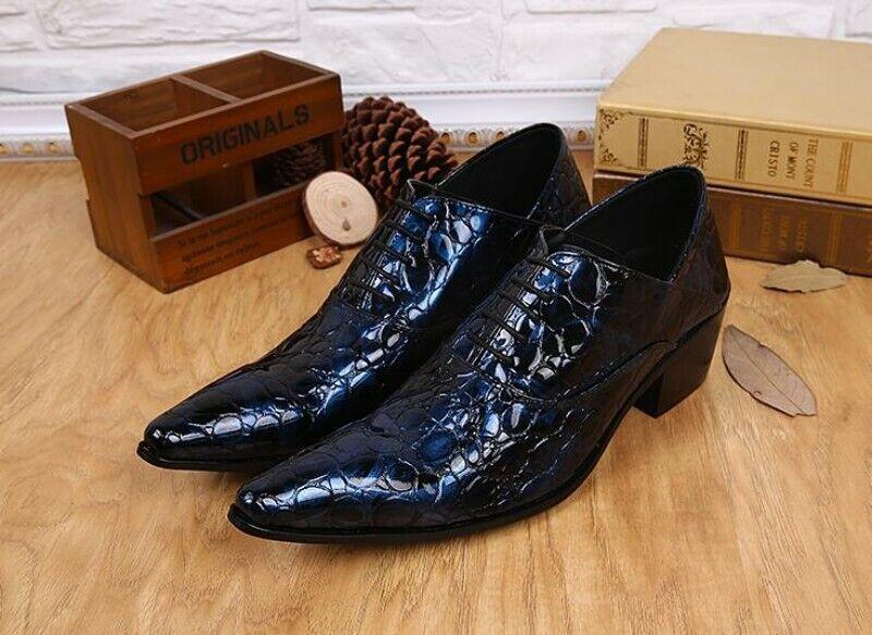 Puntera En Punta con Cordones para Hombre de Cuero Genuino Informal Cuero Calado Oxford Zapatos Con Estilo