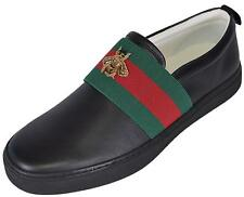 NEW Gucci Men's Black Leather Red Green Web Bee Miro Soft Loafers Shoes 8.5 G