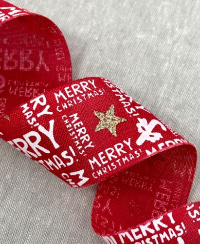 "Red Burlap 1 1//2/"" Faux Natural Burlap Christmas Burlap Ribbon Wreath Bow"