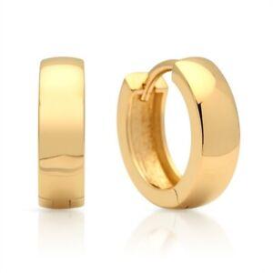 18K-Gold-vergoldet-925-Silber-Ohrringe-Creolen-Klassisch-Herren-Damen-Schmuck