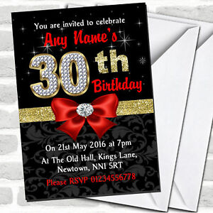 Image Is Loading Red Black Gold Diamond 30Th Birthday Party Invitations
