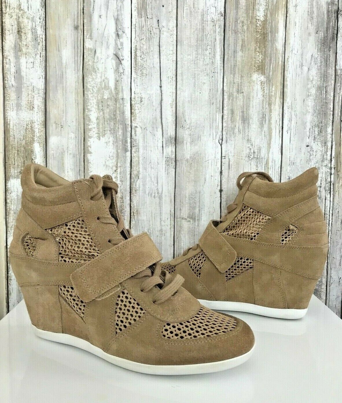 Ash Ash Ash BOWIE Suede Canvas Perforated Mesh Wedge Sneakers shoes 39 8.5 9 Cool NEW f542ad