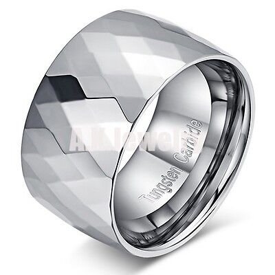 12MM FACETED TUNGSTEN CARBIDE MENS WEDDING BAND RING SIZE 8 9 10 11 12 13 14