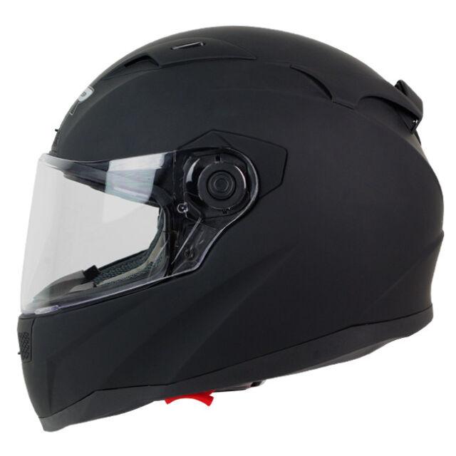 S M L XL XXL PGR GT01 SOLID MATTE BLACK Dual Visor Motorcycle Full Face Helmet