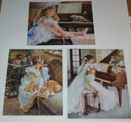 Sandra Kuck PLAYFUL KITTENS REHEARSAL Set of 3 Music Art Prints FIRST RECITAL