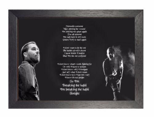 Chester Bennington Breaking Habit Lyrics Photo Linkin Park Picture Rock Poster