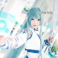 Sword Art Online Asuna Anime Cosplay Hair Full Girls Light Blue Long Wavy Wig