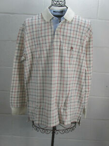 New-Tommy-Hilfiger-White-Checkered-Long-Sleeve-Polo-Shirt-L-Large-NWT-69