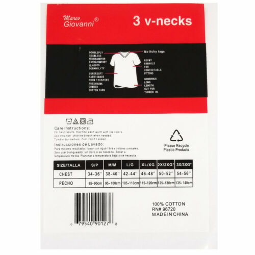 3,6 Pack For Mens 100/% Cotton Tagless V-Neck T-Shirt Undershirt Tee White S-XL