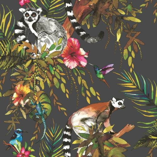 TROPICAL ANIMALS WALLPAPER LEMUR FISH BUTTERFLIES PALM TREE FLOWERS LEAVES