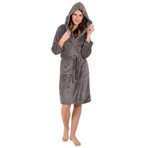 Women s-ROBE- Bathrobe -Hooded- Warm Super Soft Plush -Coral Fleece ... a5cdc60f2