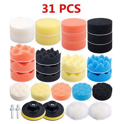 80mm//3In 31Pcs Buffing Sponge Polishing Buffer Pad Kit For Car Waxing Polisher