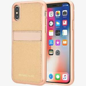5465232a273a Michael Kors Saffiano Leather Pocket Case for iPhone X - Rose Gold ...
