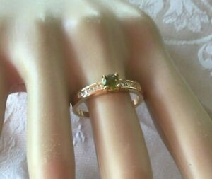 Vintage-Jewellery-Gold-Ring-with-Peridot-and-White-Sapphires-Antique-Jewelry