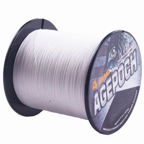 Pro 100M-2000M White 10LB-30LB 100/% PE Dyneema Agepoch Braided Fishing Line