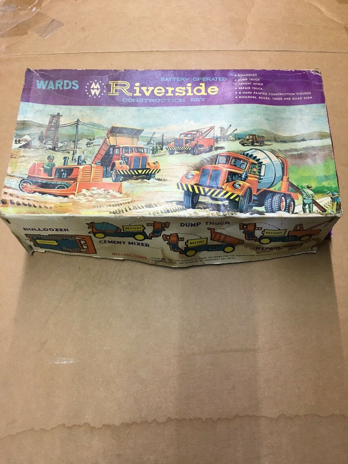 Marx Wards Plastic Riverside Construction Set Vintage Battery Hong Kong