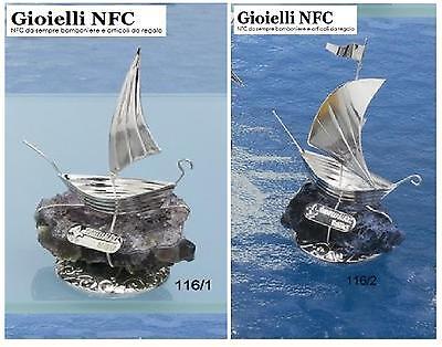 Beautiful N.1 Favours Veliero Caravella Cm.8 Silver 925% Su Quartz Natural Blue' 116/1 Sufficient Supply Other Antique Furniture