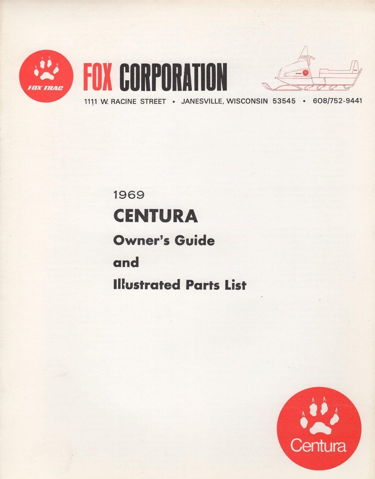 VINTAGE 1969 FOX CENTURA SNOWMOBILE SNOWMOBILE CENTURA OWNER & PARTS MANUAL (769) 44888a