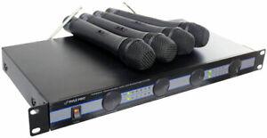 Pyle-PDWM5000-Rack-Mount-Wireless-Hand-Held-4-Quad-VHF-Microphone-Mic-System-Kit