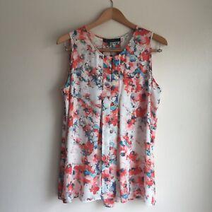 Rose-amp-Olive-Womens-Floral-Top-Tunic-Size-L-Sleeveless-Pleats-Orange-Blue-Ivory
