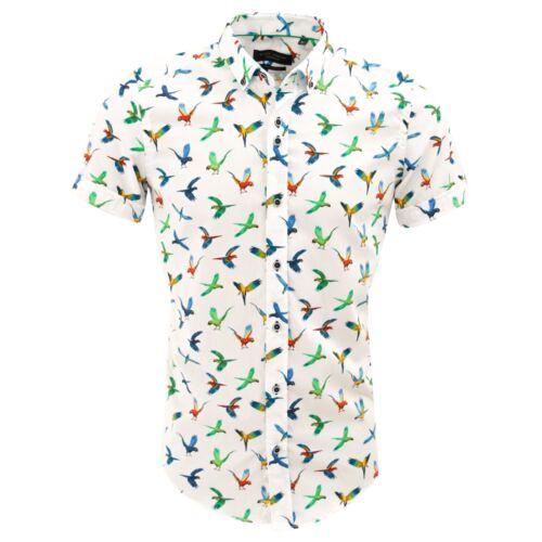 Guide London White Cotton Colourful Parrot Print Mens Short Sleeve Shirt HS2299
