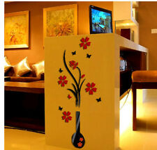 3D Vase Flower Tree Wall Art Acrylic Sticker