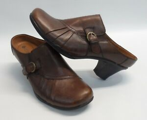 Womens-EARTH-SPIRIT-Classics-Emily-Brown-Leather-Mule-Heel-Shoes-Size-10M