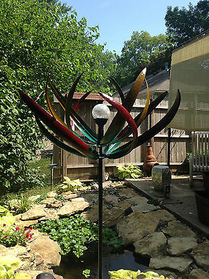 Kinetic Wind Sculpture Modern Art Spinner Metal Color Changing Solar  Pinwheel L