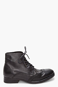 c7824c0950e Details about Men's Diesel Black Gold Wing Tip Black Leather Ankle Boots  NEW Sz US 12.5 EU 46