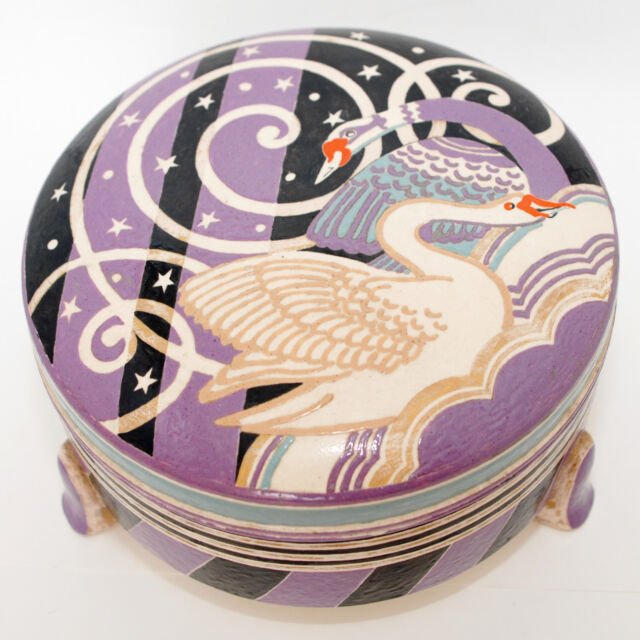Swans, Stars & Stripes in Lavender Earthenware, Porcelain Box Signed Dated