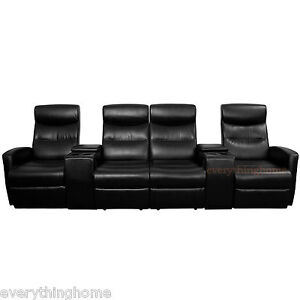 Black-Leather-Soft-4-Seat-Home-Theater-Recliners-Love-Seat-Storage-Drink-Console