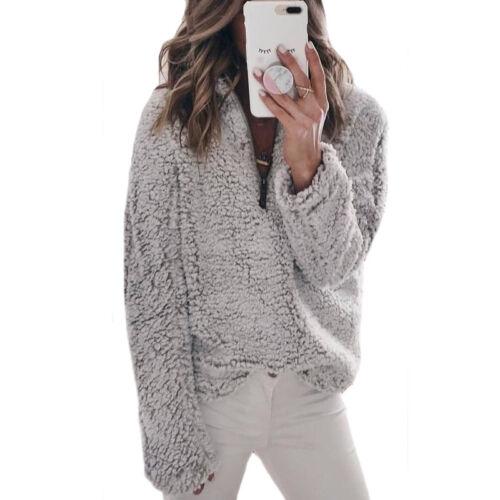 US Women Winter Oversized Fleece Hoodies Jumper Coat Pullover Sweatshirt Outwear