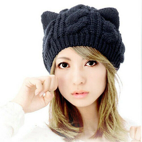 Women Winter Beanie Devil Horns Cat Ear Crochet Braided Knit Ski Wool Hat Cap