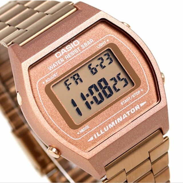 021951528 Casio B640wc-5avt Vintage Collection Rose Gold Stainless Steel Digital Watch