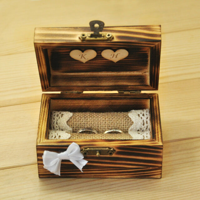 Personalized Wedding Ring Box Rustic Ring Bearer Wooden Ring Holder with Heart