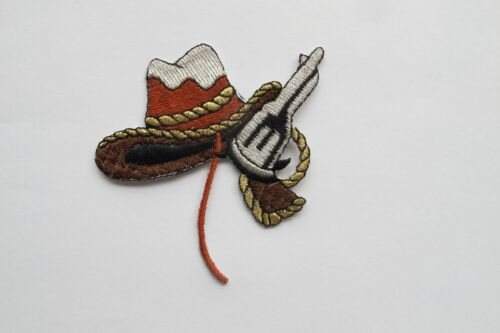 #2307 Left,Right Cowboy Hat,Silver Gun Embroidery Applique Patch