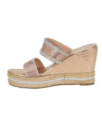 Ladies Womens Sparkly Wedge Diamante Slip On Summer Beach Holiday Sandals