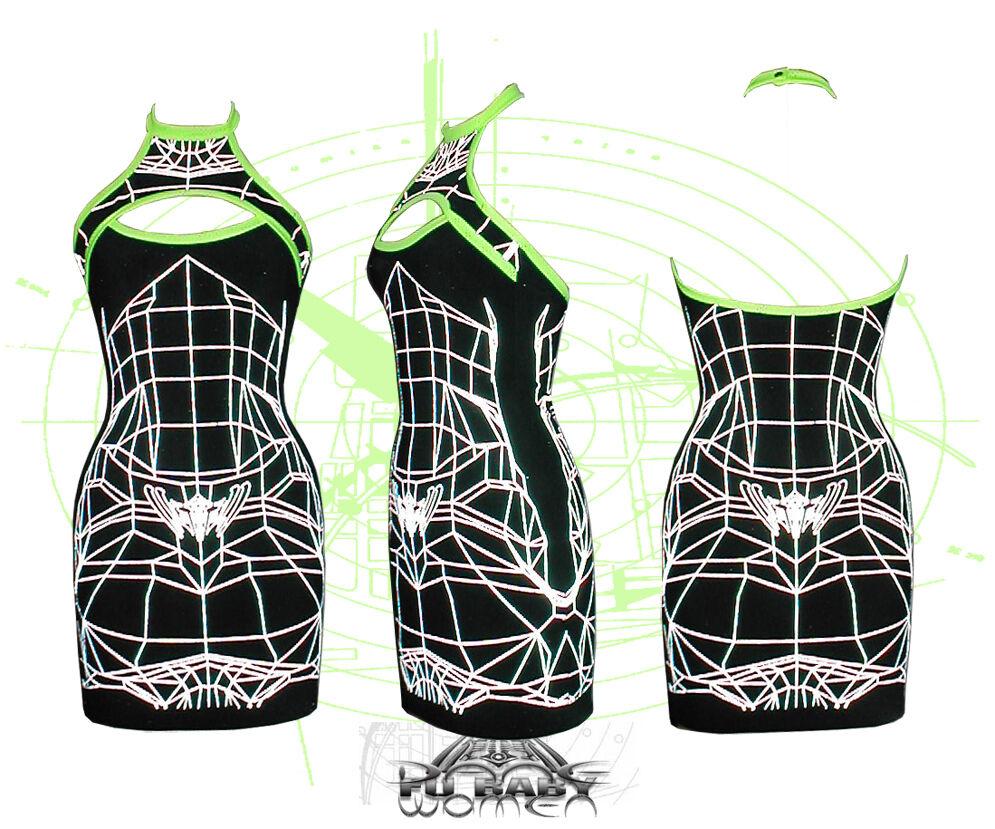 DANE WIREFRAME Slash Slash Slash Canotta Abito Cyber Goth Clubwear podio Bodycon UV e2ef99