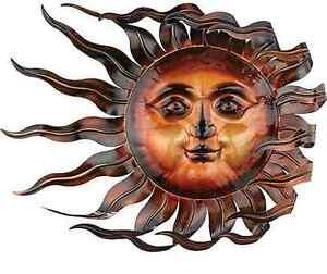 """Sunswept Sun Face Wall Art Windswept Wind Blown Indoor Outdoor Home Garden 26"""""""